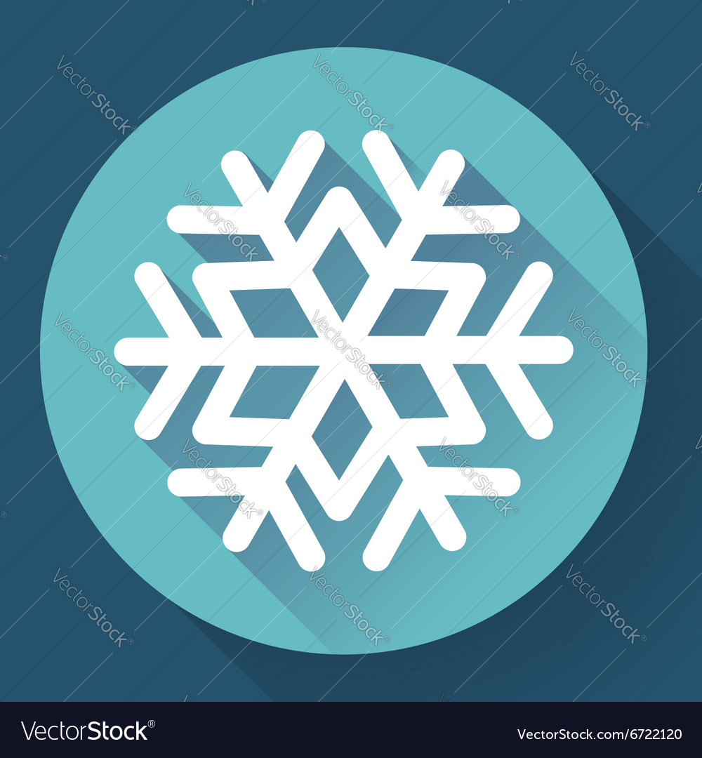 White snowflake flat icon with long shadow