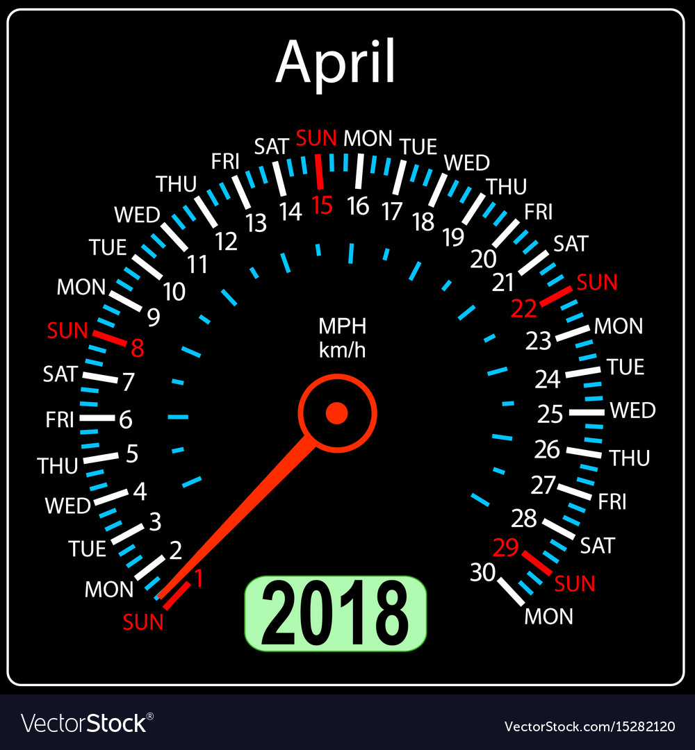 Year 2018 calendar speedometer car in concept vector image