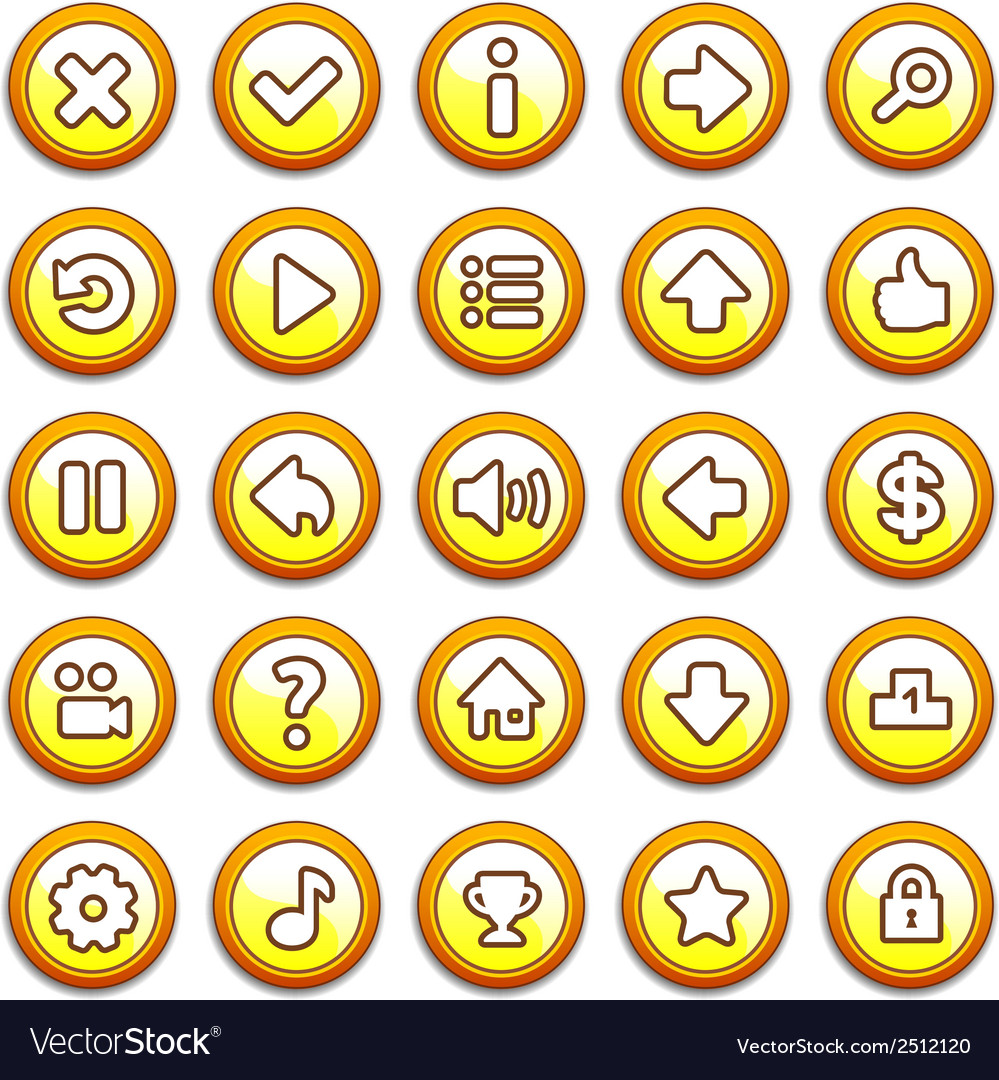 Yellow round game menu buttons