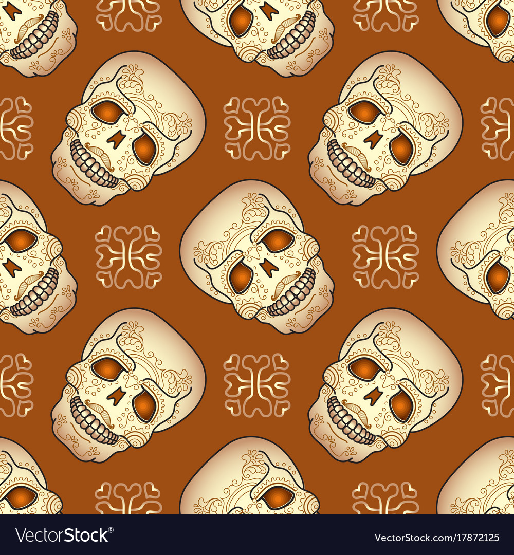 Day of the dead seamless pattern with sugar skull