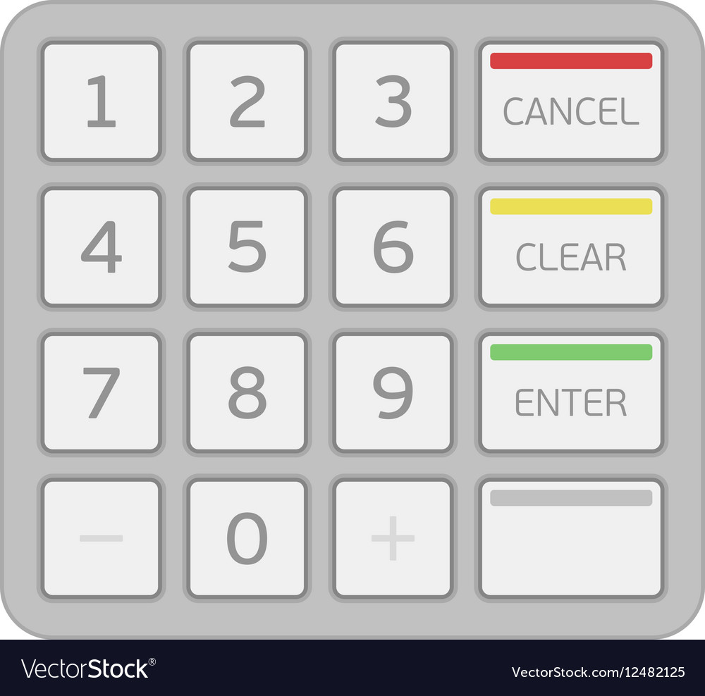 Keypad of an automated teller machine vector image