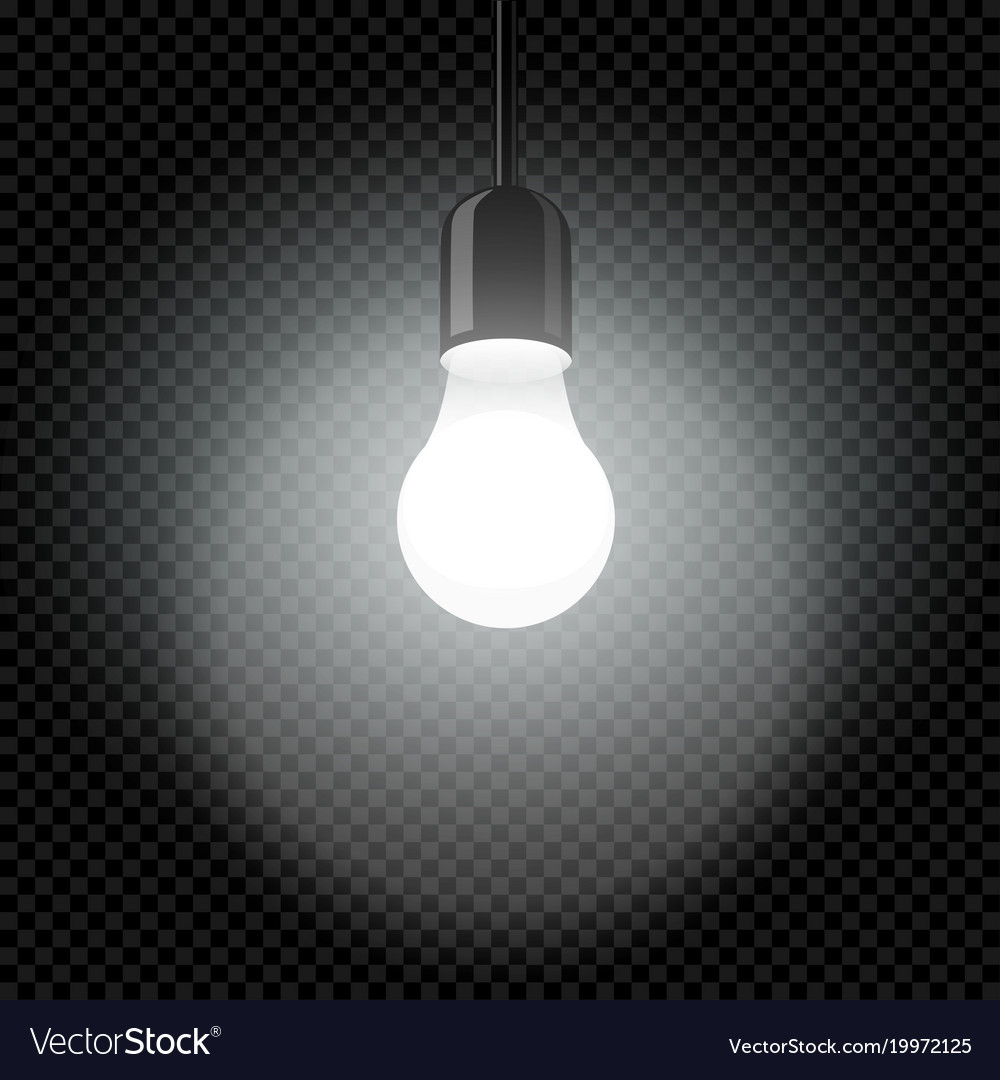 light bulb in dark template transparent royalty free vector