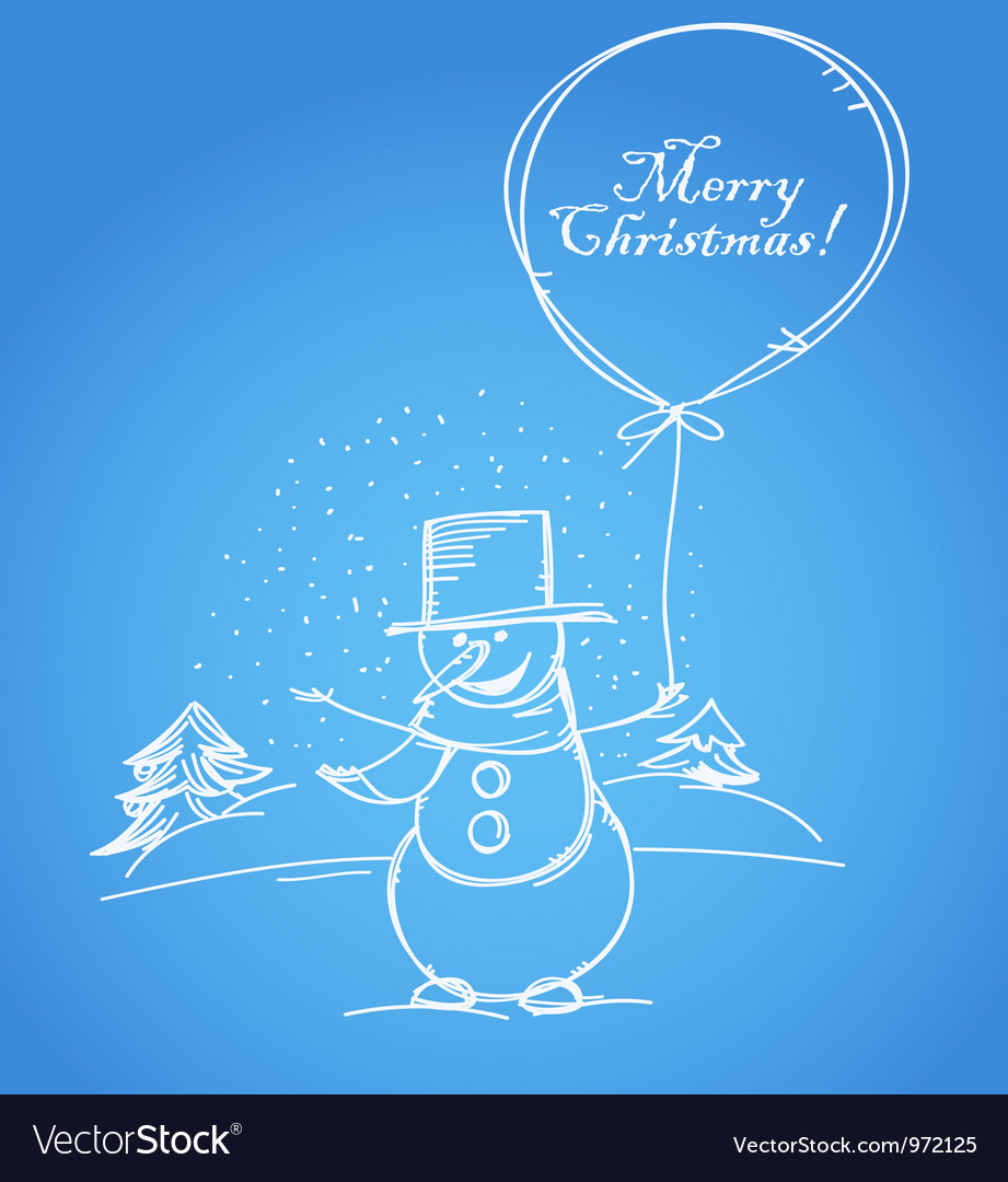 Merry Christmas from smiling snowman vector image