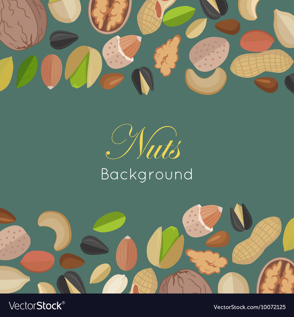 Nuts Background Concept in Flat Design