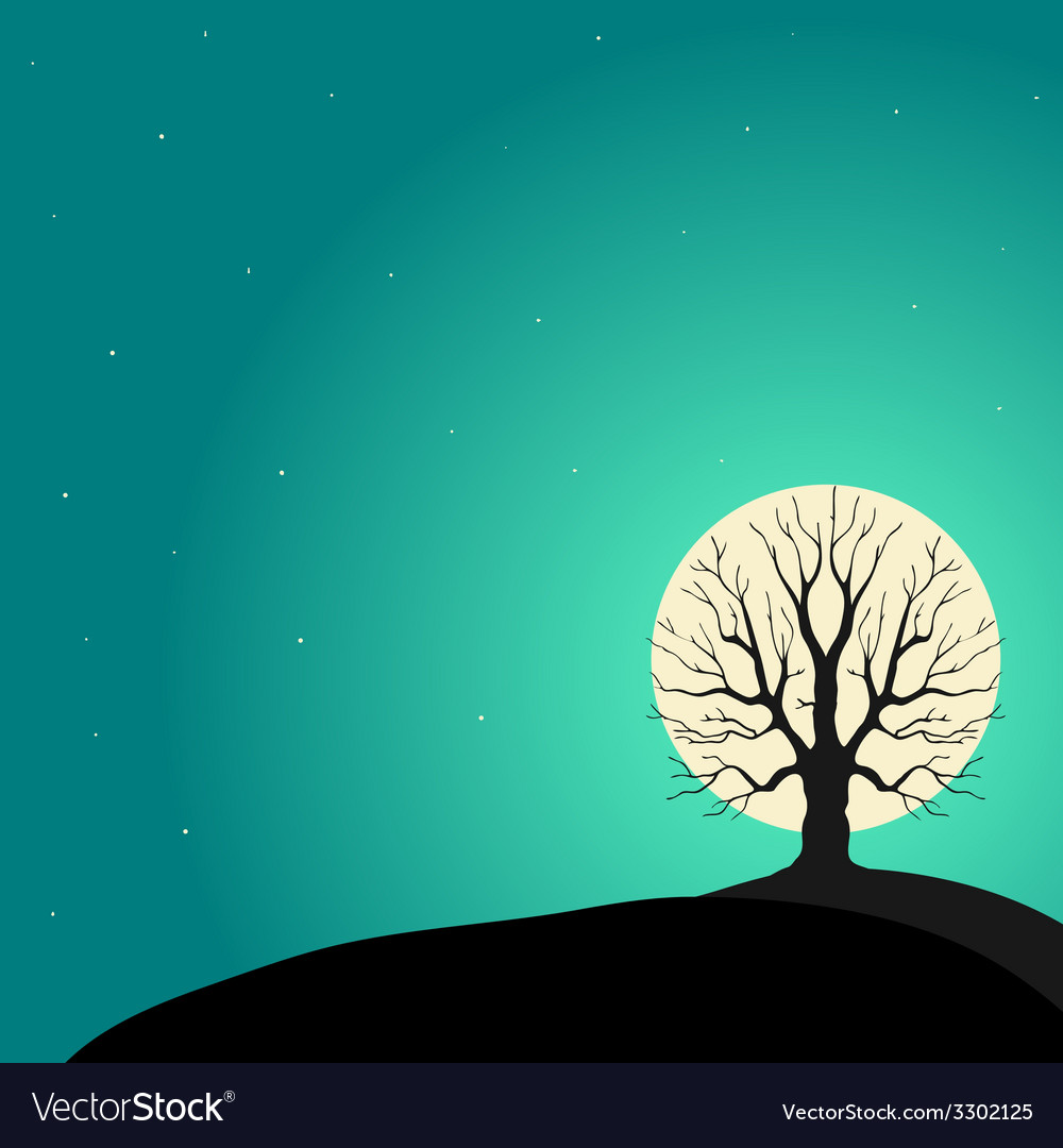 Tree on a background of the moon