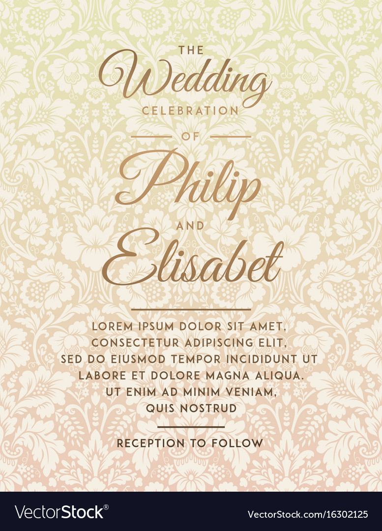 Vintage wedding invitation template Royalty Free Vector