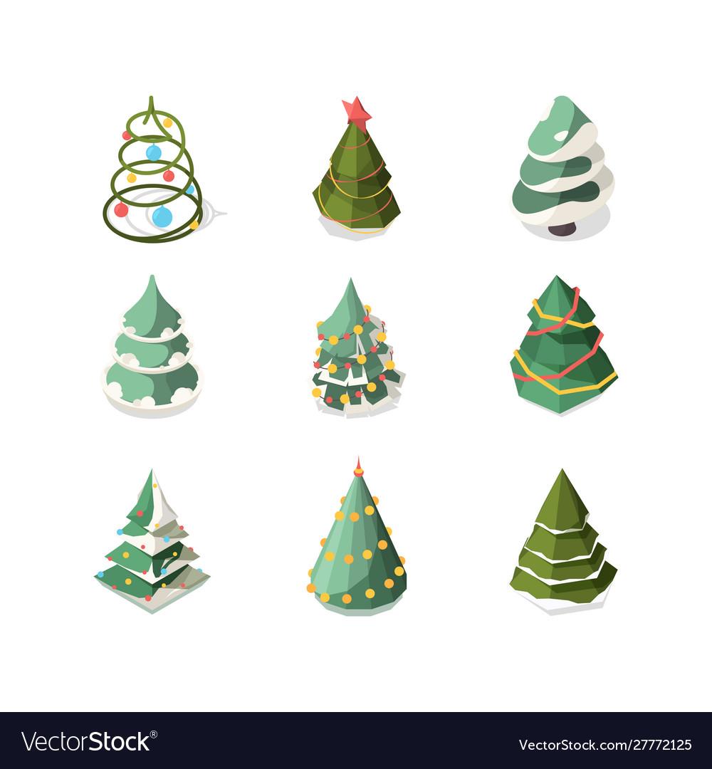 Xmas tree stylized new year decorated plants