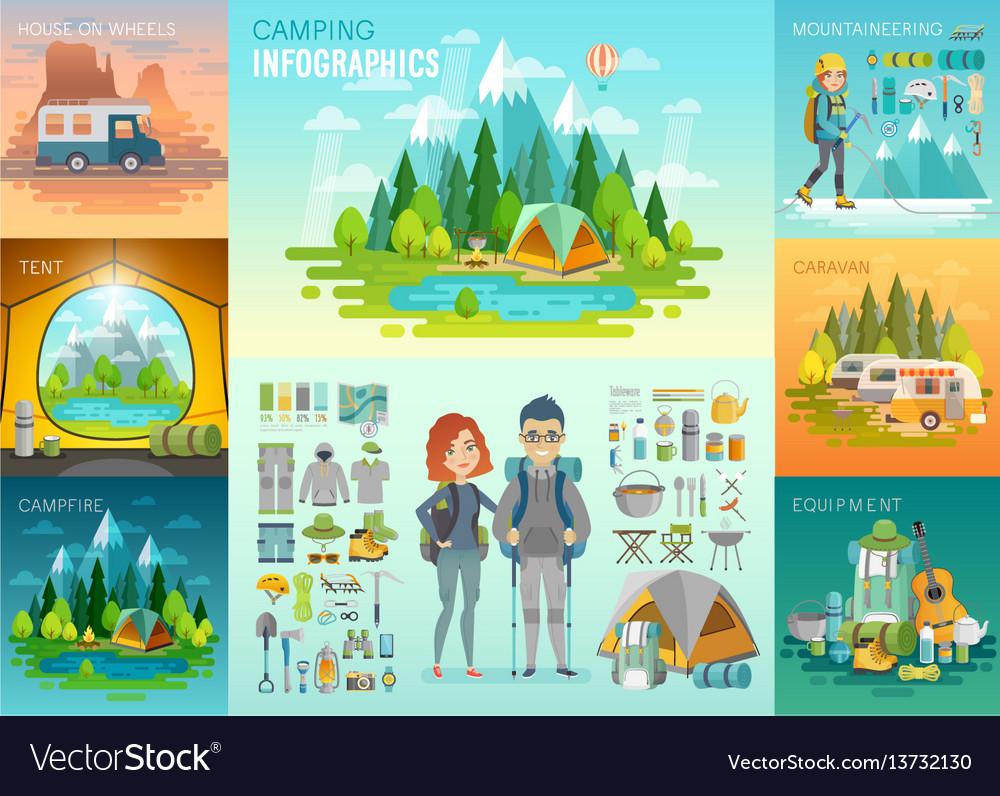 Camping infographic mountaineering caravan vector image