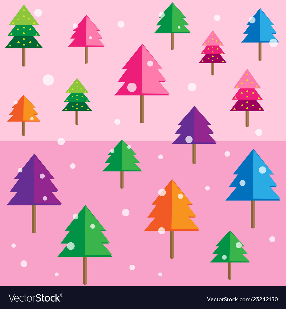 Colored geometric forest background pattern pink