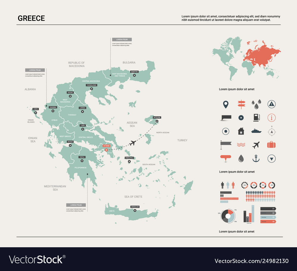 Map greece high detailed country map with