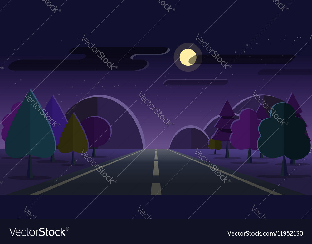Night nature landscape road mountains forest
