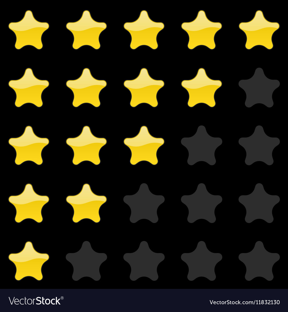 Rating stars panel Customer review vote navigation