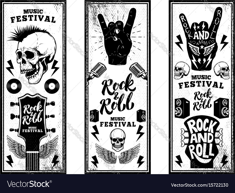 Rock and roll party flyers template vintage