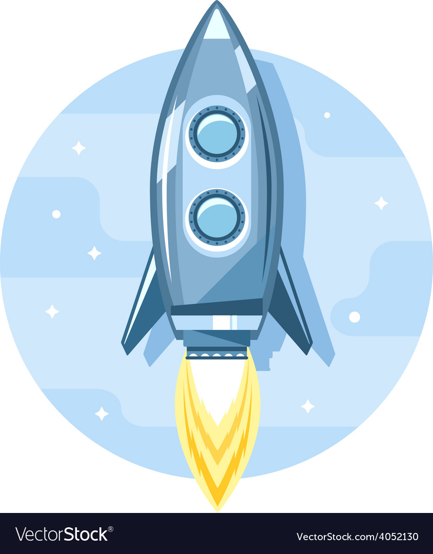 Rocket in Sky Flat Icon