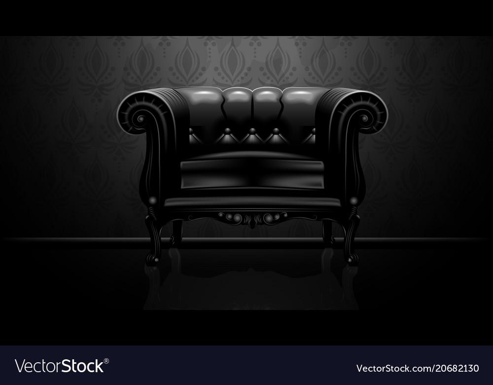 Royalty vintage leather armchair on black backgrou