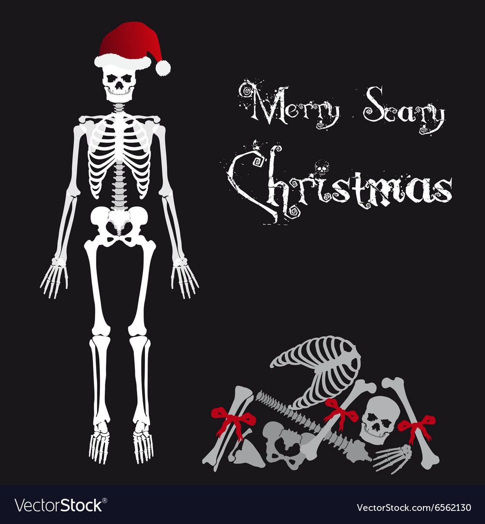 Christmas Skeleton.Santa Claus Skeleton Scary Christmas Greetings