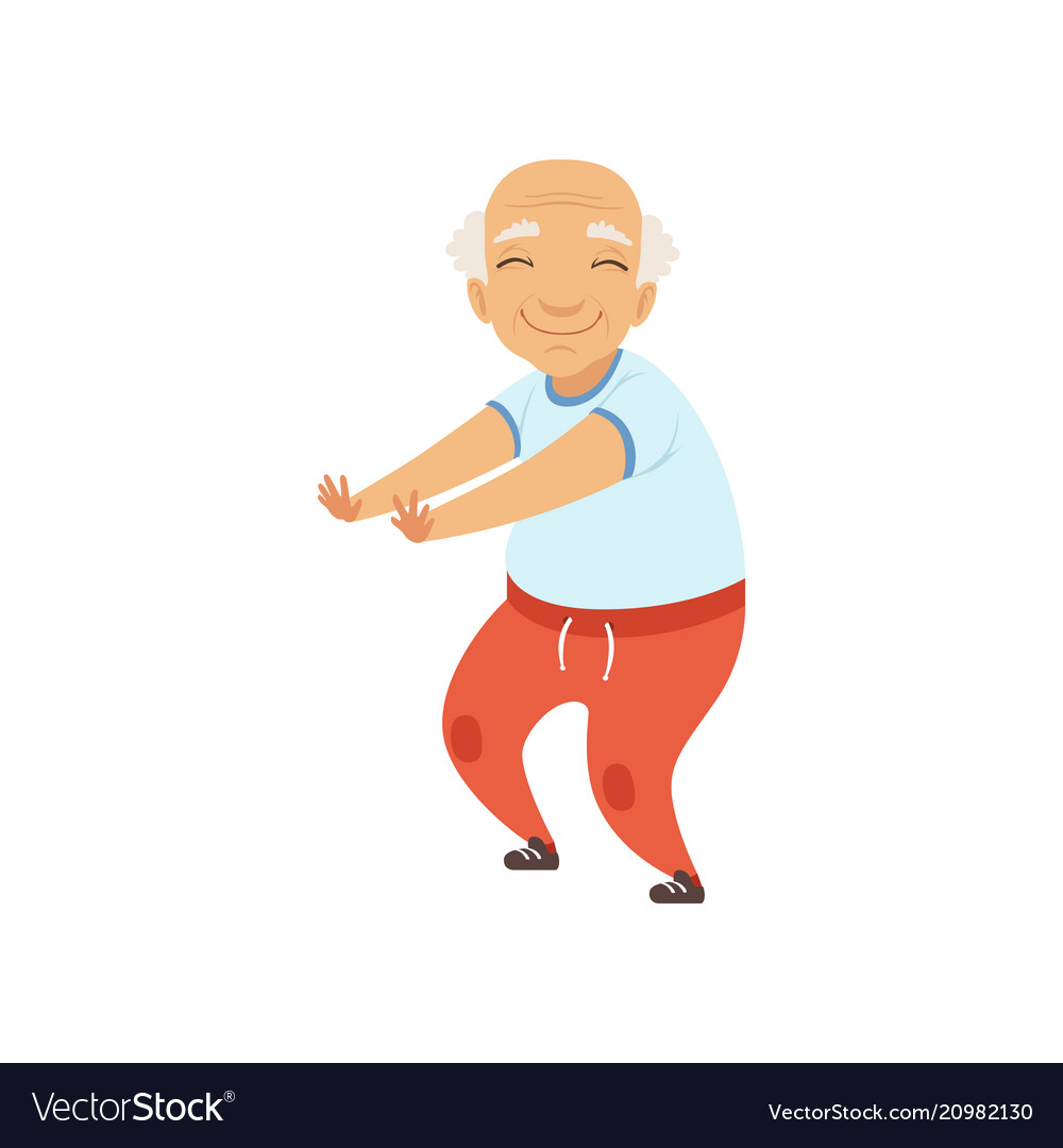 Senior man in sports uniform doing squats