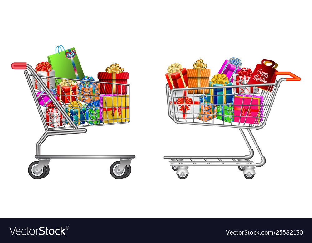 Set isolated shopping trolley full gift box