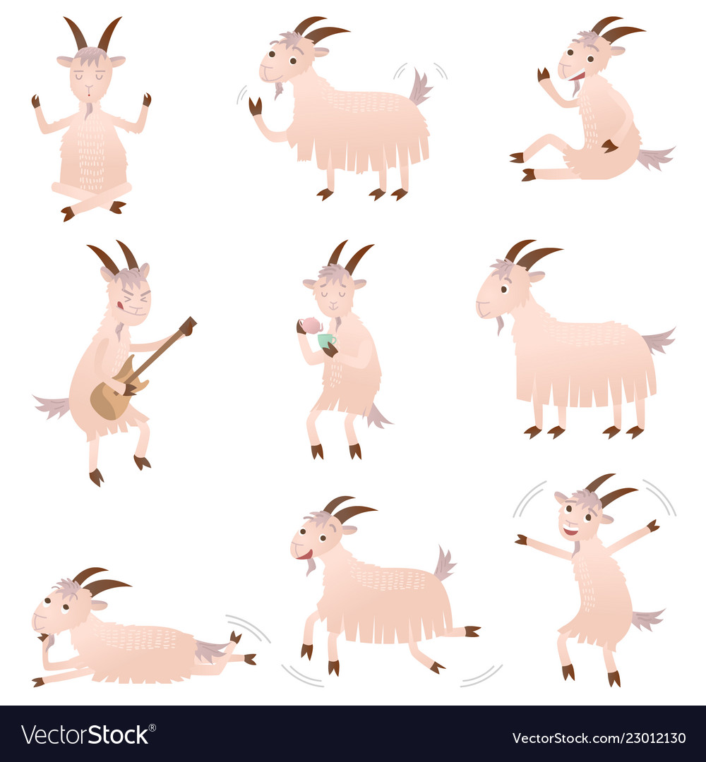 Set of different funny goats in different poses