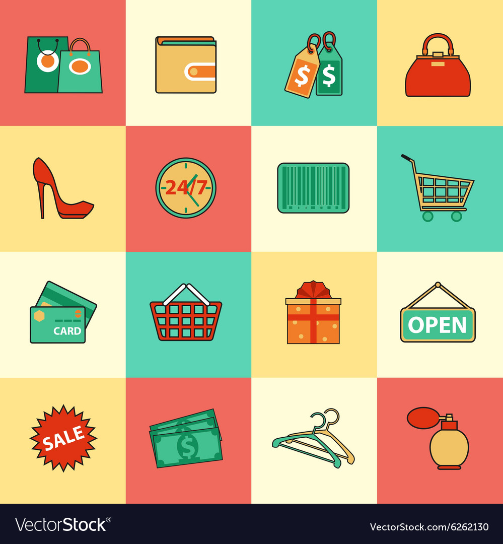 Set of shopping and sale line icons Flat style