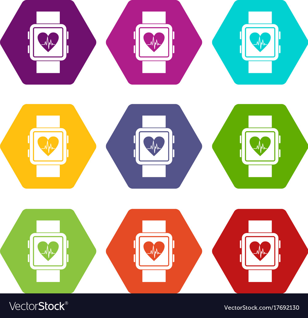 Smartwatch icon set color hexahedron