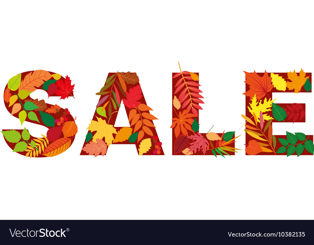 Autumn leaf inscription sale Isolated design