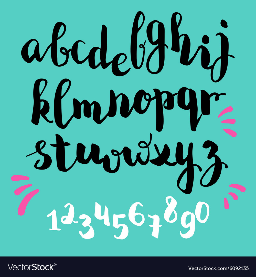 brushpen style alphabet calligraphy royalty free vector
