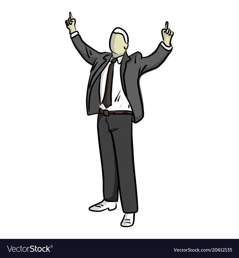 Businessman with finger point up of two hands