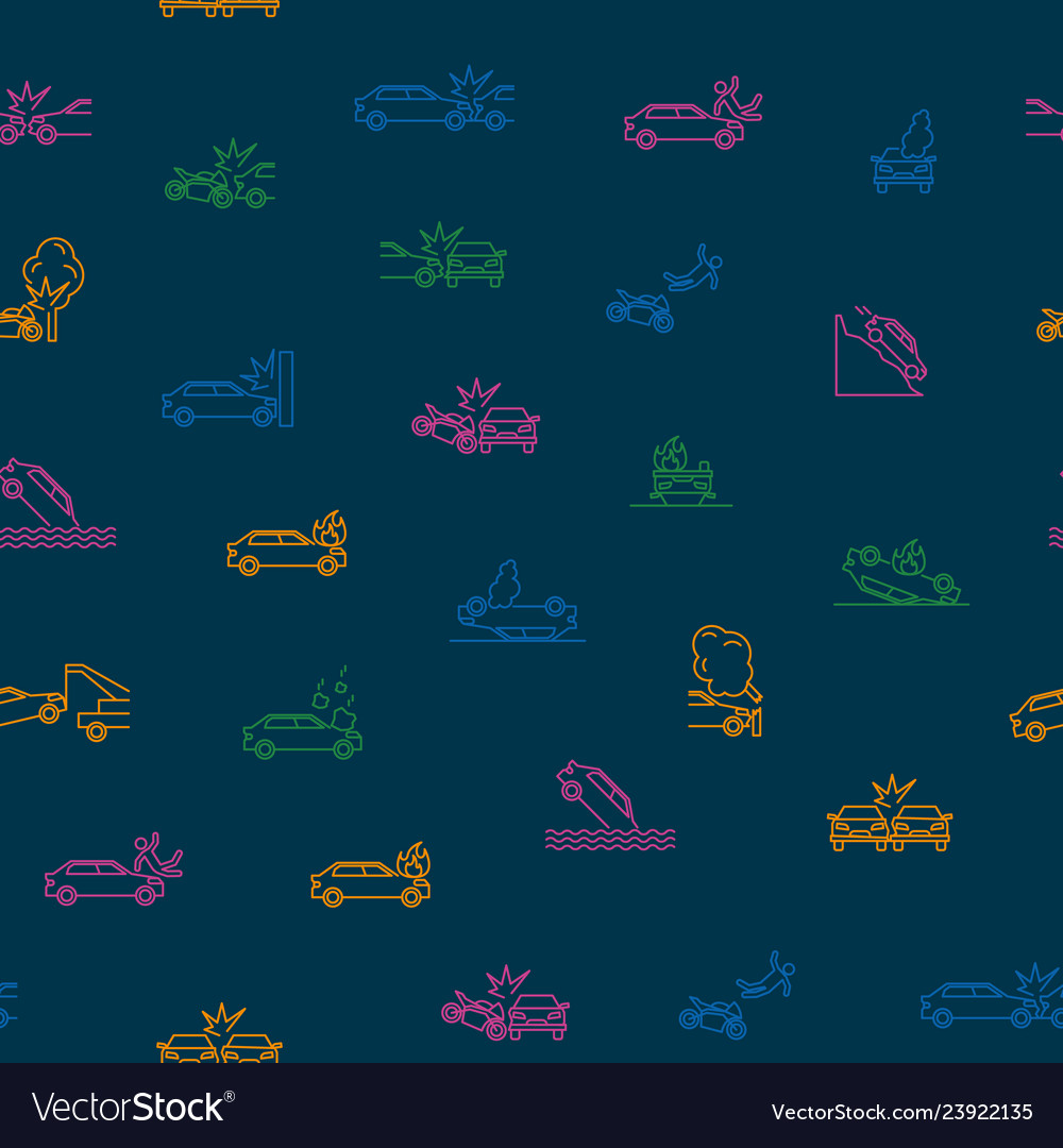 Car accident thin line seamless pattern background
