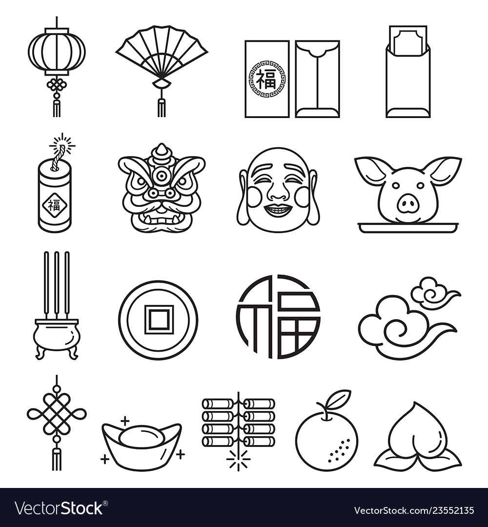 Chinese new year icons set llustrations