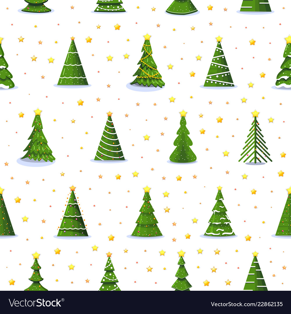 Christmas fir tree and 3d gold stars seamless