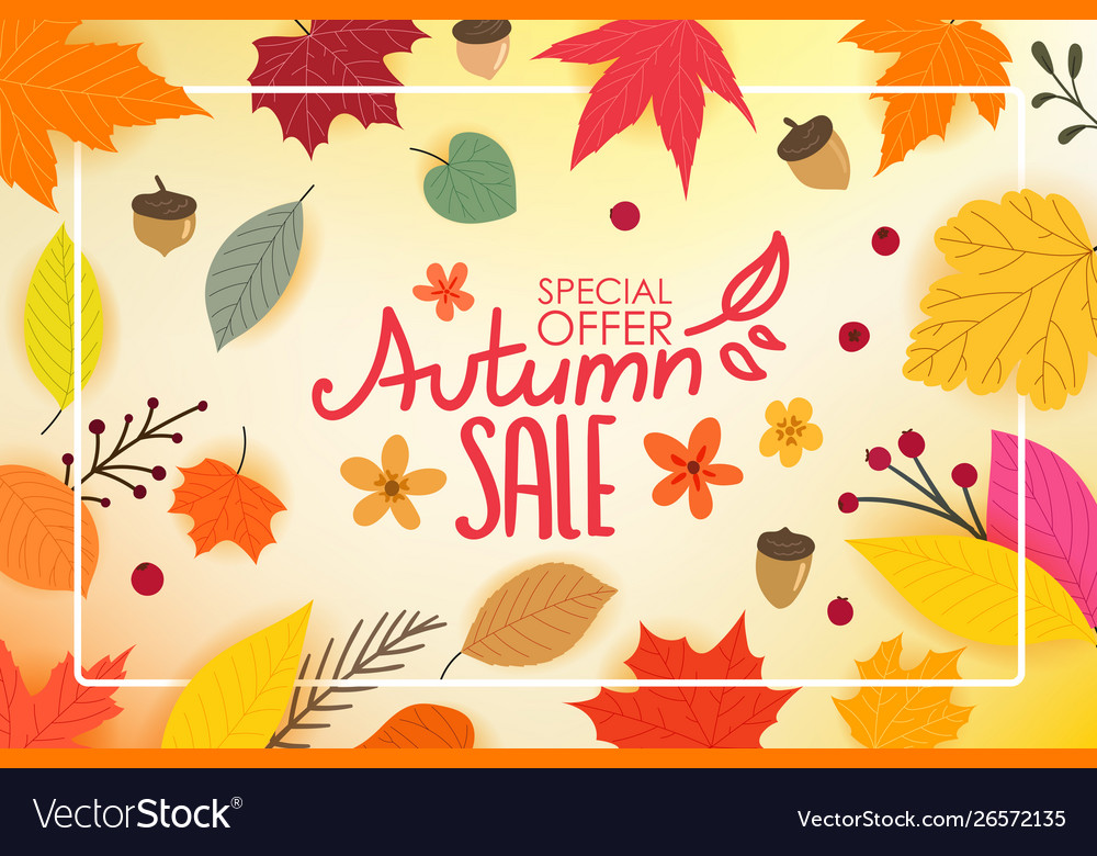 Color autumn leaves with white frame autumn sale