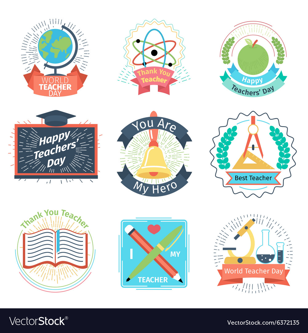 Color retro teachers day logos set