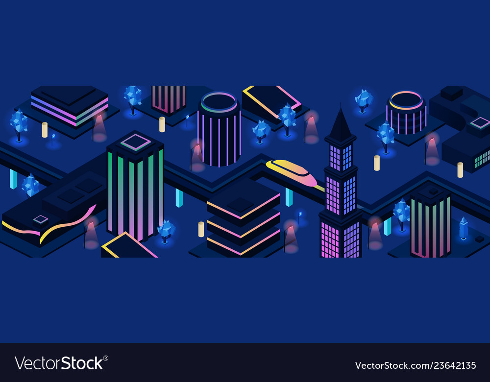 Future city night streets background