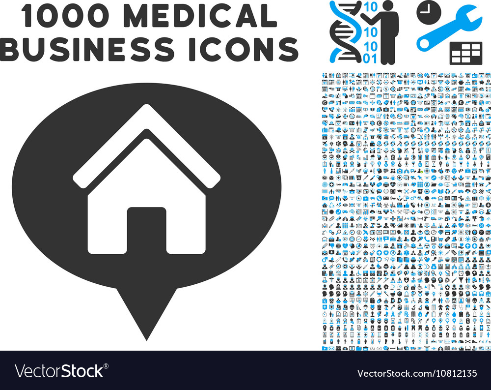 House Info Balloon Icon with 1000 Medical Business