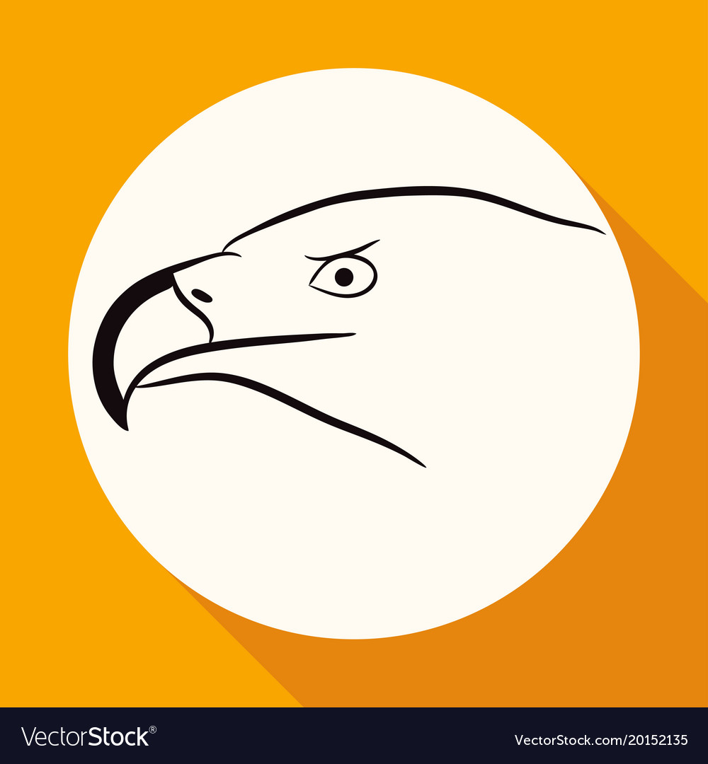 Icon eagle on white circle with a long shadow vector image