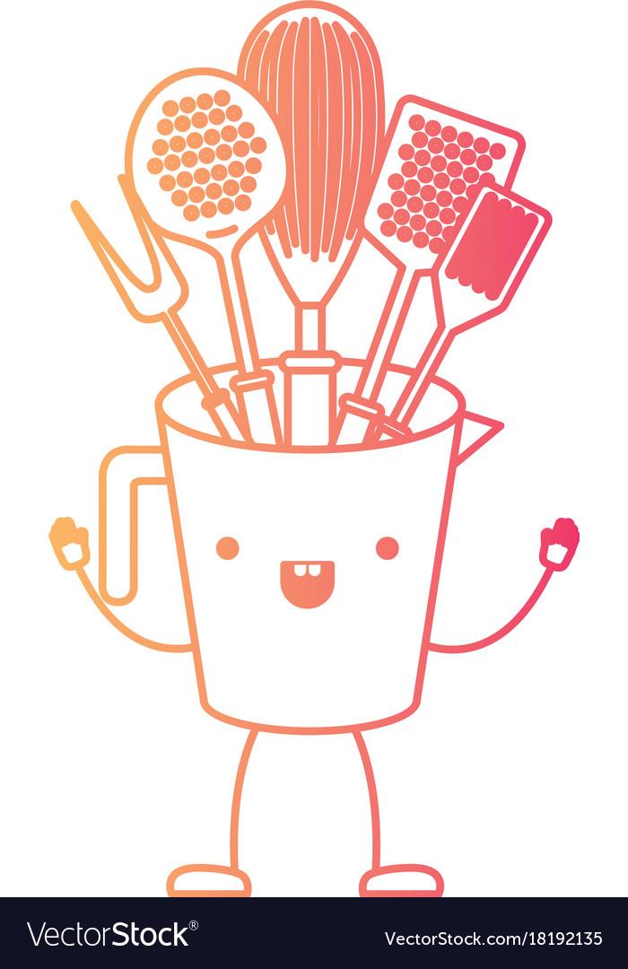 Jar with kitchen utensils cartoon in degraded red