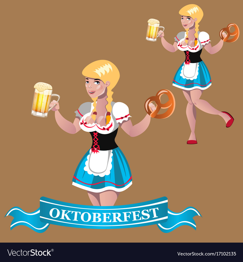Sexy girl with beer octoberfest