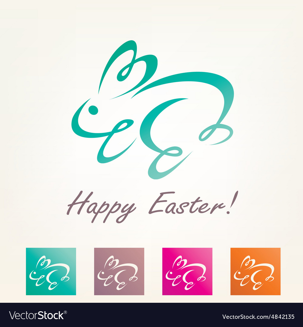 Stylized easter rabbit outlined bunny sketch vector image