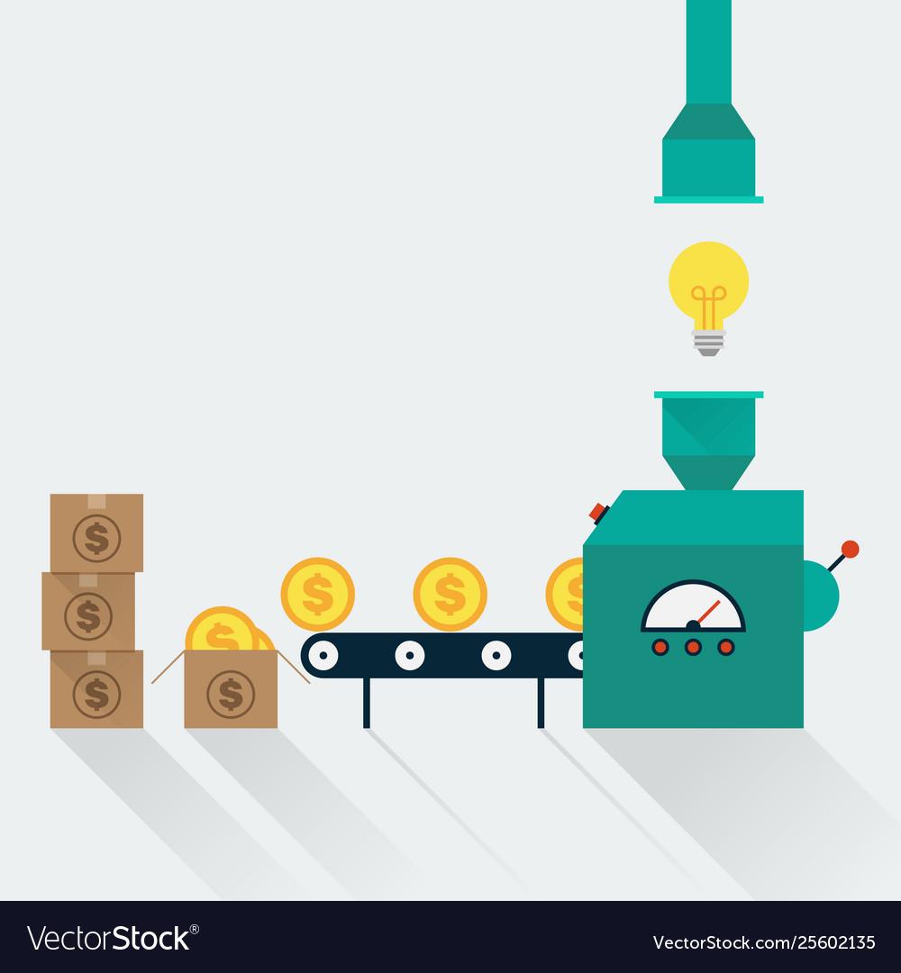 Transform creative idea to money creative idea in