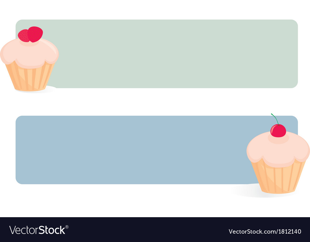 Banner set with cupcakes on green and blue