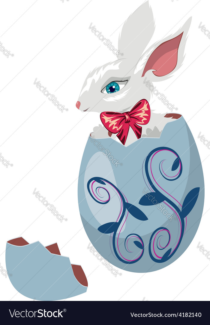 Bunny Inside a Cracked Egg vector image