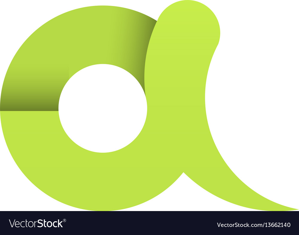 Green letter a paper first character