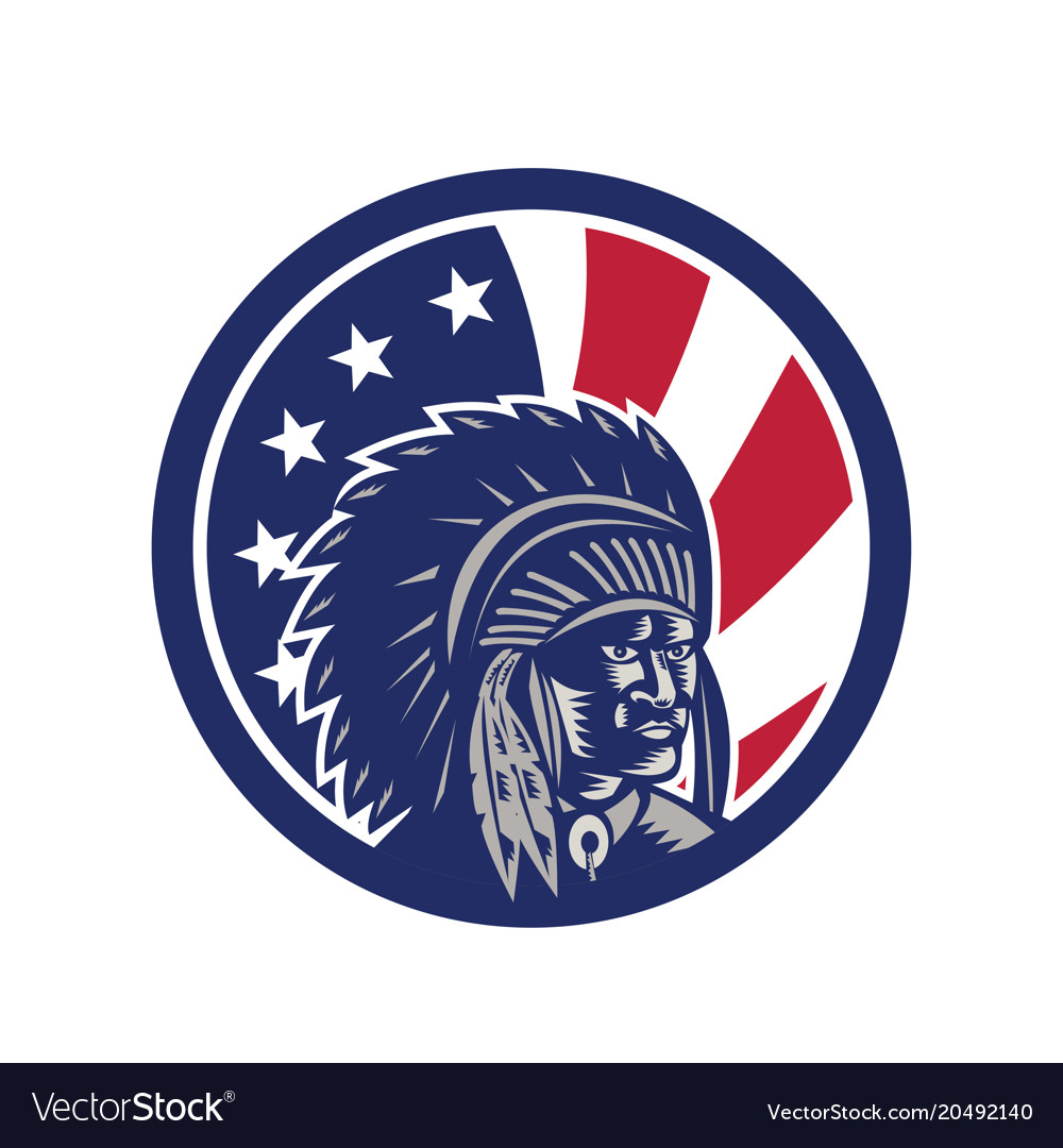 Native american indian chief usa flag icon