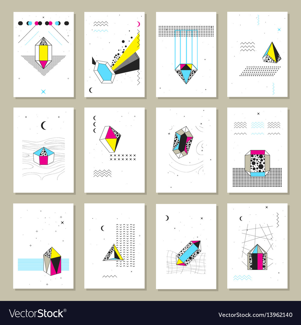 Polygonal crystals mini banners collection