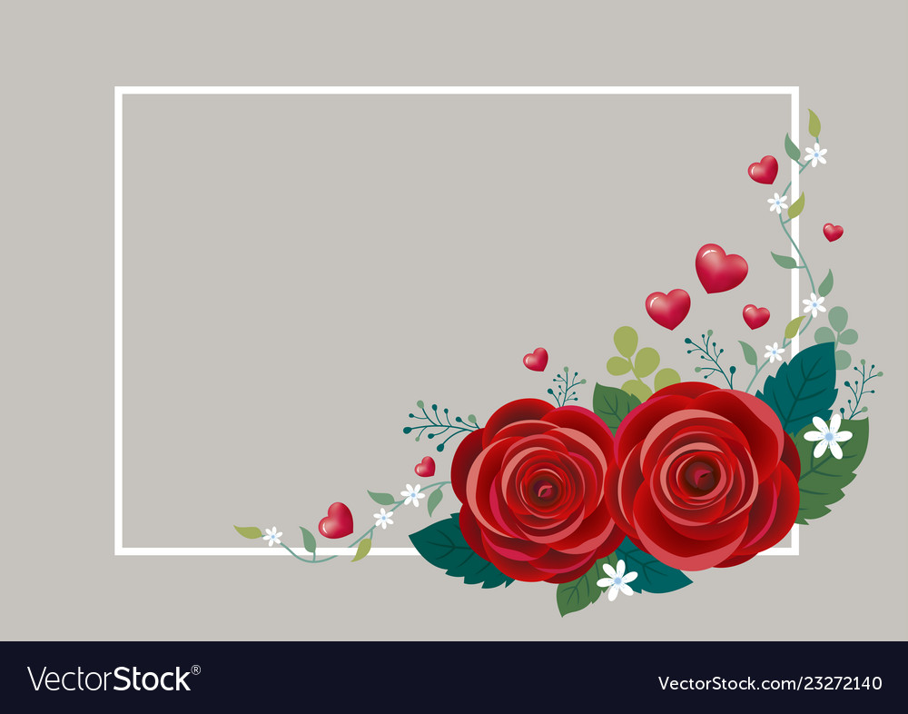 Rose flowers with hearts and white frame design