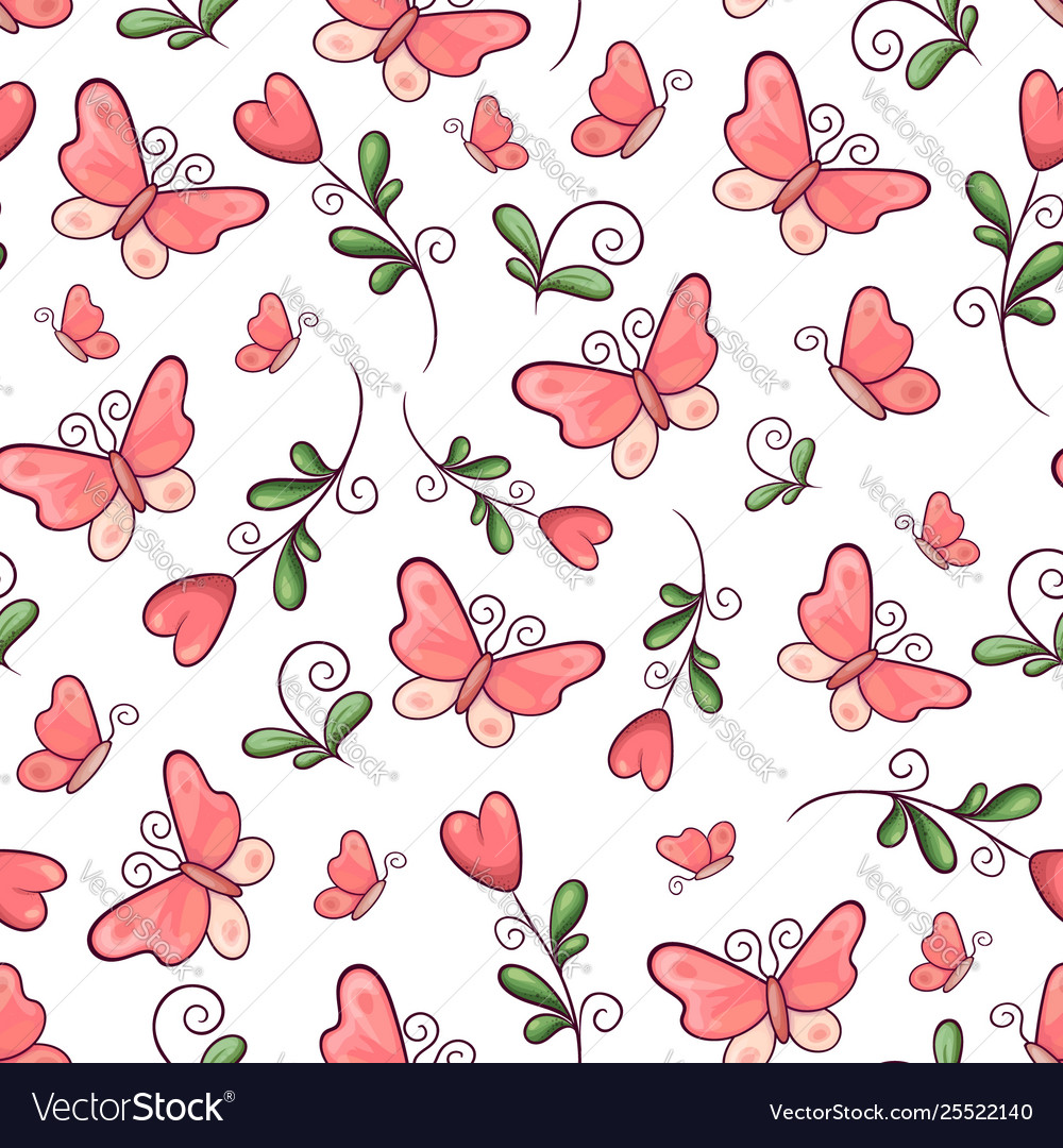 Seamless pattern butterflies and flowers hand