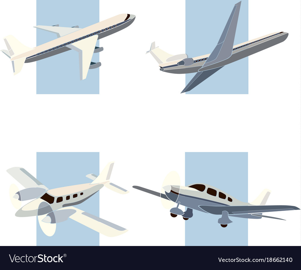 Set simple icon aircrafts