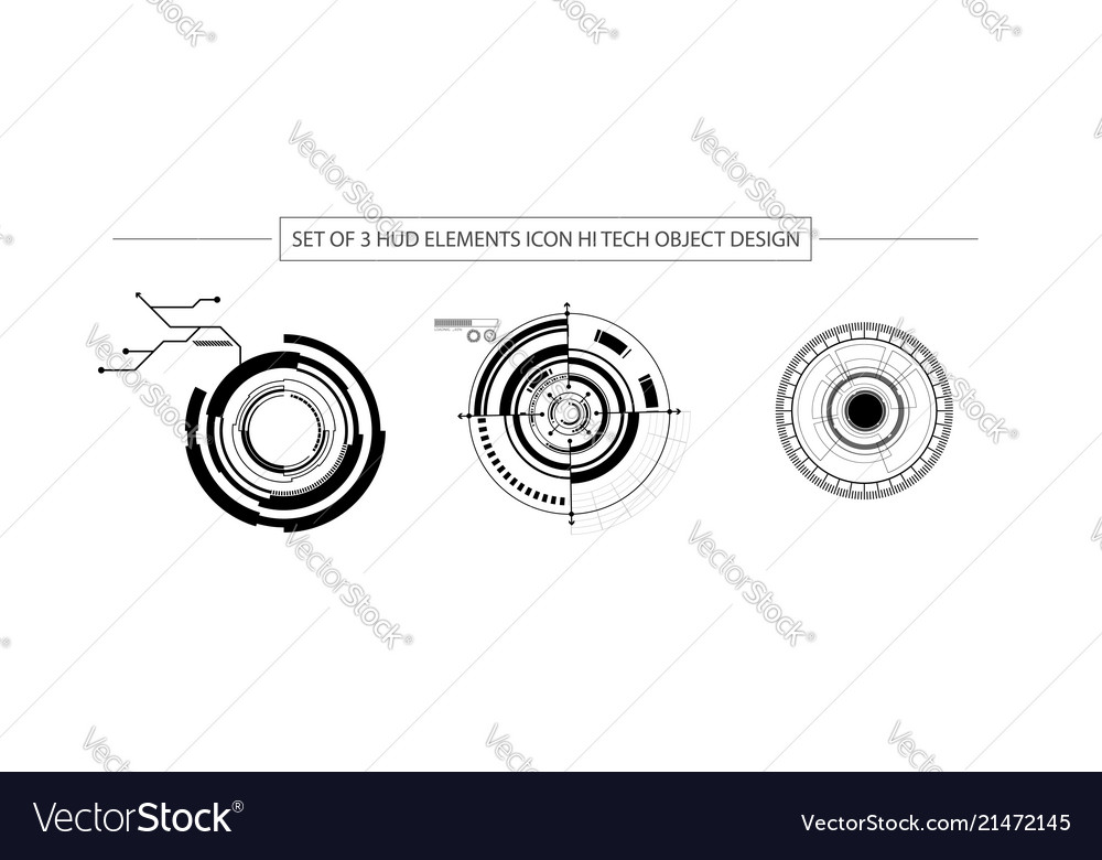 Abstract set of 3 hud elements icon hi tech