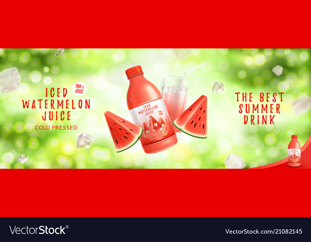 Advertisement with iced watermelon juice